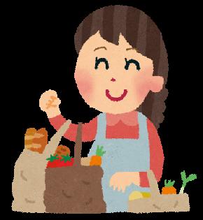 買い物のイラスト「野菜とパンを買う主婦」.png