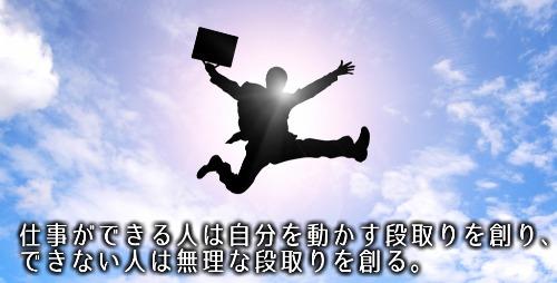 仕事ができる人は自分を動かす段取りをつくり、できない人は無理な段取りをつくる