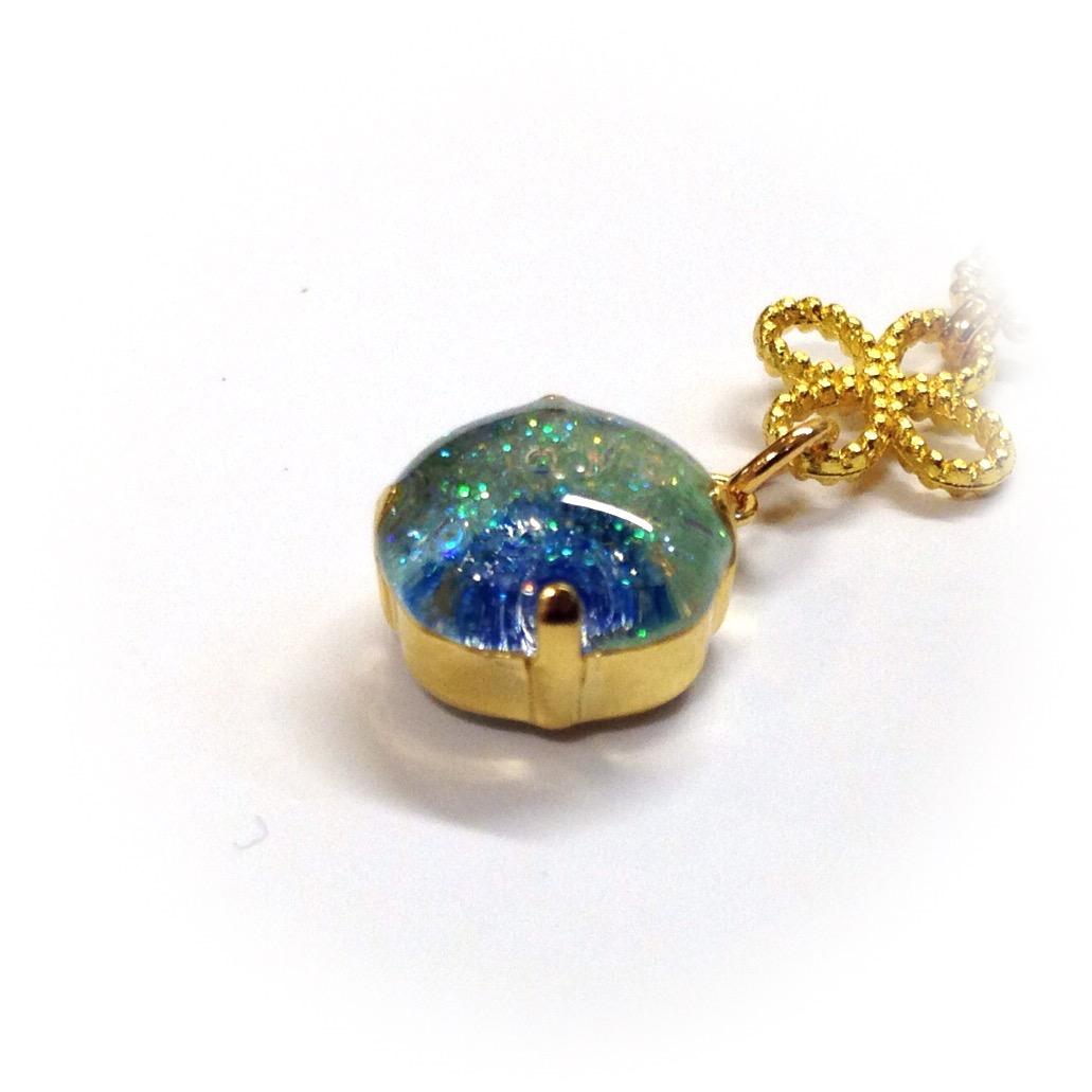 斜めシンプル1粒宝石(緑)