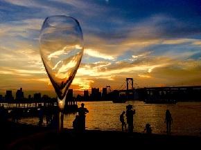 お台場 グラスと夕陽