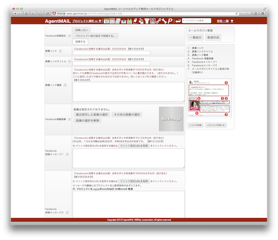 AgentMAIL Facebook 設定画面